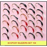 30 mixed EPOXY BUZZERS trout fly fishing flies UK SET 104-HB