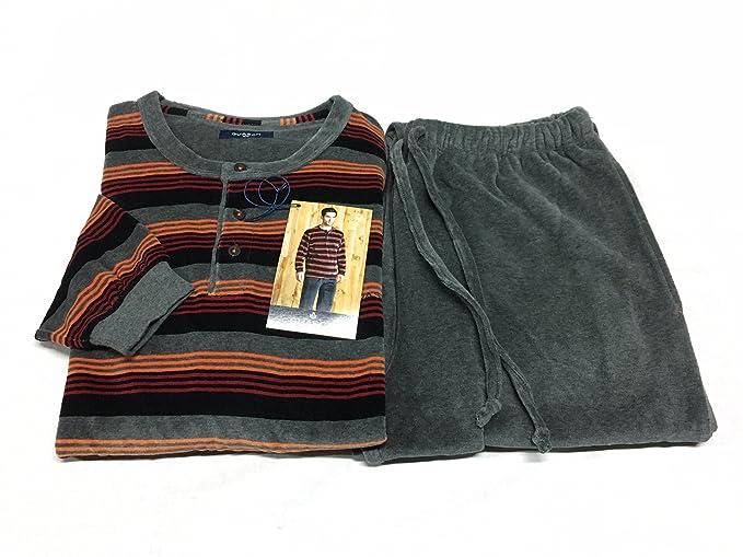 più recente 85f15 fc530 GUASH pigiama uomo ciniglia con polsino maniche e gamba ...