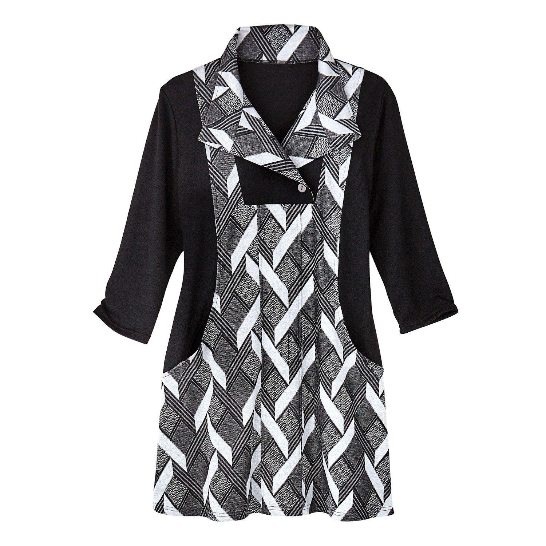 Women's Tunic Top - Faux Basketweave Knit Jumper - Retro Mod Style - 2X