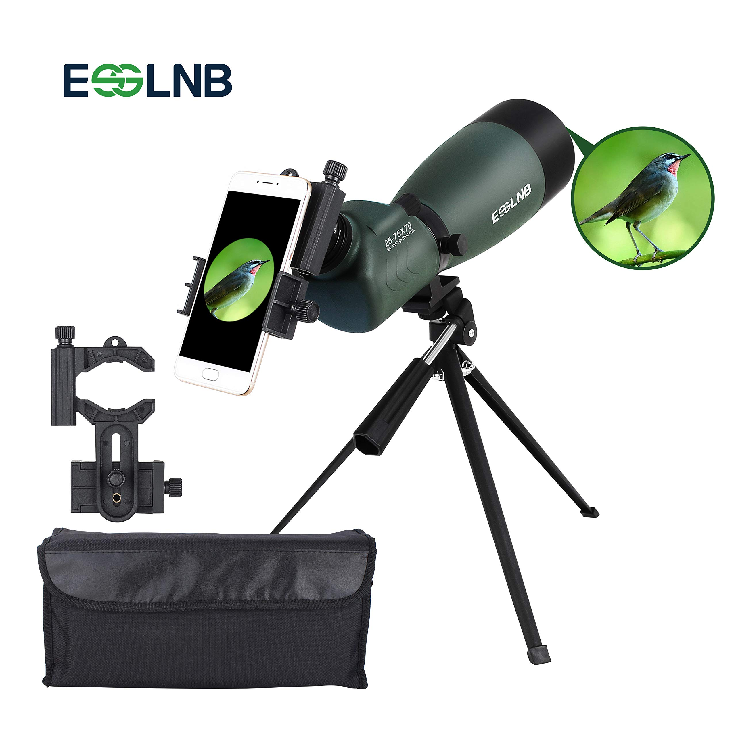 ESSLNB Spotting Scope with Tripod Phone Adapter 25-75 X 70 BAK4 Monocular Telescope 45 Degree Angled Waterproof Compact Spotting Scopes for Target Shooting Hunting Bird Watching by ESSLNB