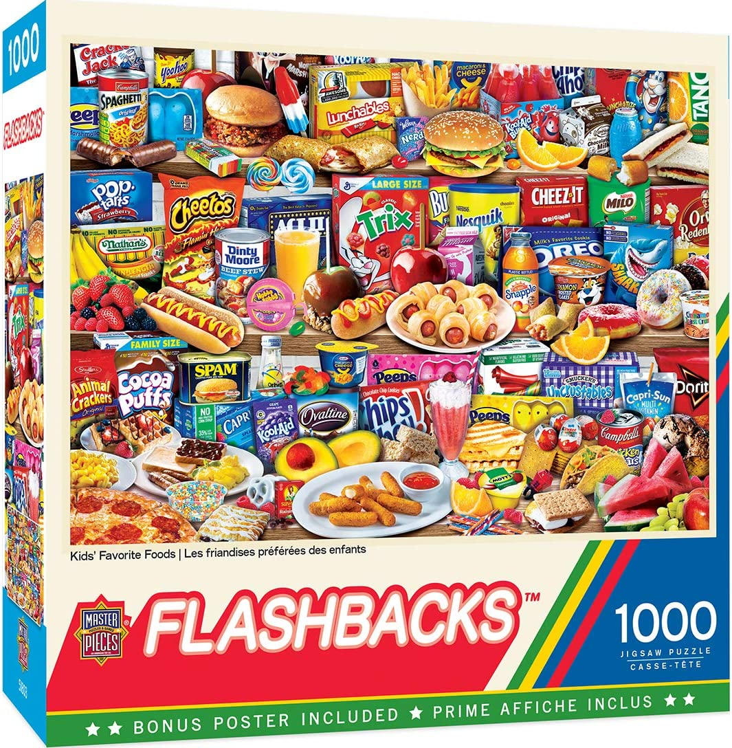 MasterPieces Flashbacks Puzzles Collection - Kids Favorite Foods 1000 Piece Jigsaw Puzzle