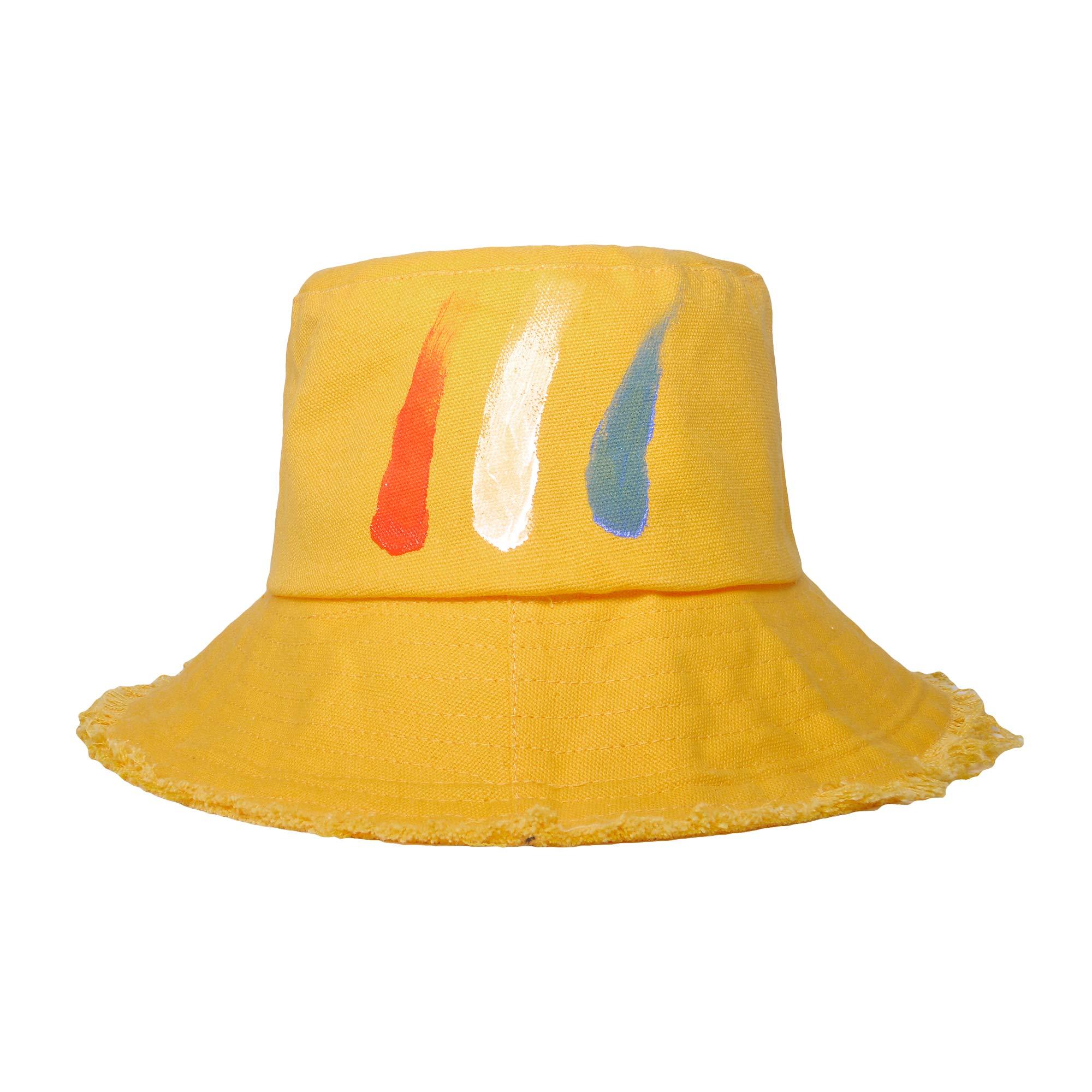 ZLYC Women Fashion Outdoor Washed Cotton Denim Bucket hat Sun hat (Painted Yellow)