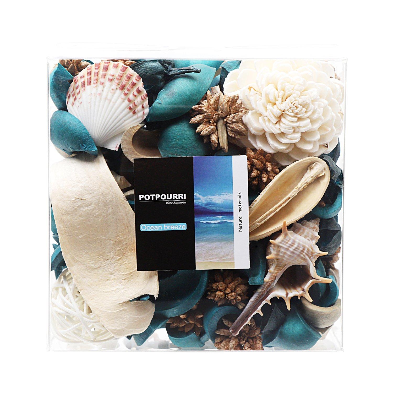Qingbei Rina Gift Ocean Scent Decorative Potpourri Bag, Bowl Filler and vase Filler, 10.2 oz.Turquoise Blue