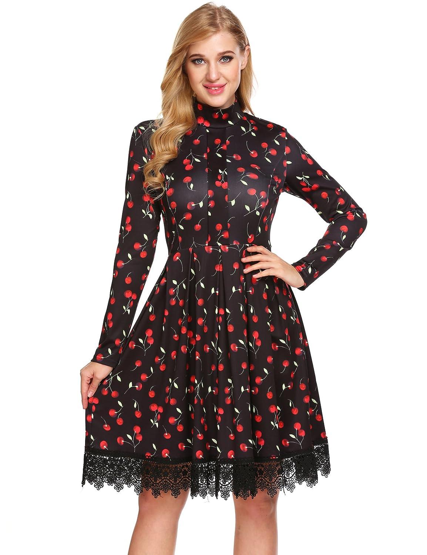cb5b16f8528a Design: Mock Neck Collar, Back Zipper, Knee Length, Lacy Hem, High Waist  Feature: Hidden back zipper, Empire waist, A-line pleated skirt,  lace-trimmed ...