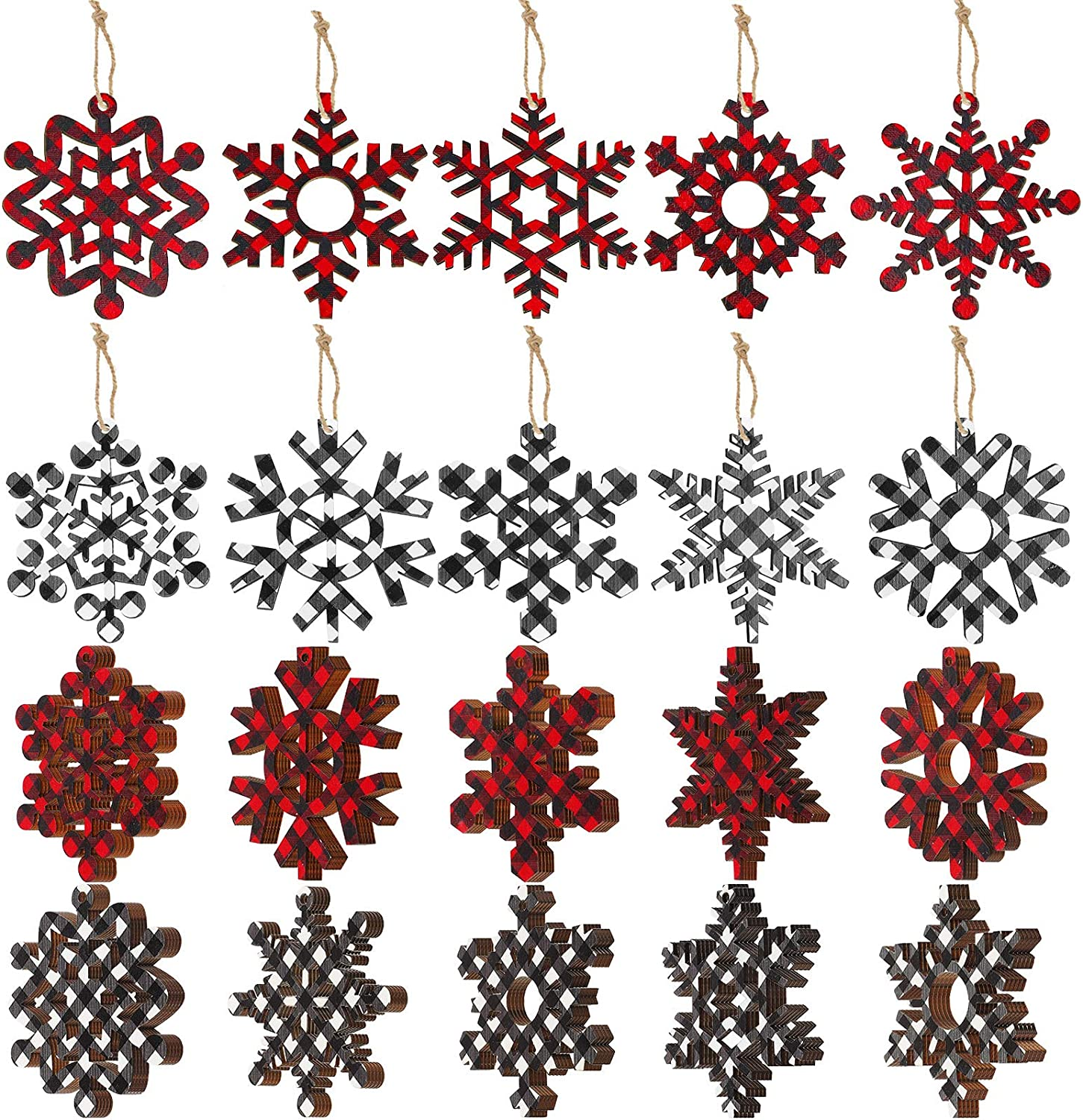 Buffalo Plaid Christmas Wooden Snowflake Ornament Snowflakes Wood Slice Craft Wood Set with Twine for DIY Craft Christmas Hanging Ornament Holiday Decoration (Red and Black, White and Black,60 Set)