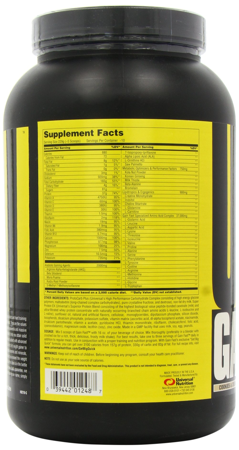 Universal Nutrition Gain Fast 3100, Cookies and Cream, 5.1-Pounds by Universal Nutrition (Image #7)