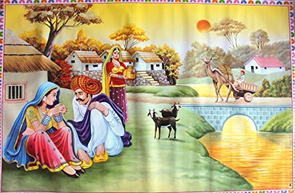 Ccc Beautiful Scenery Of Village Scene Wall Poster Huge Size 1 5
