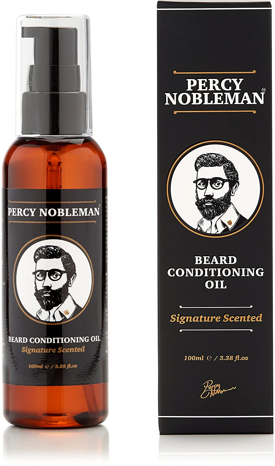 Beard Oil by Percy Nobleman - 99% Naturally Derived Newly Available Signature Scented Blend. Beard Conditioning Oil With a Special Mixture of Quality Ingredients that Softens and Conditions your Facial Hair. (100ml) (100ml)