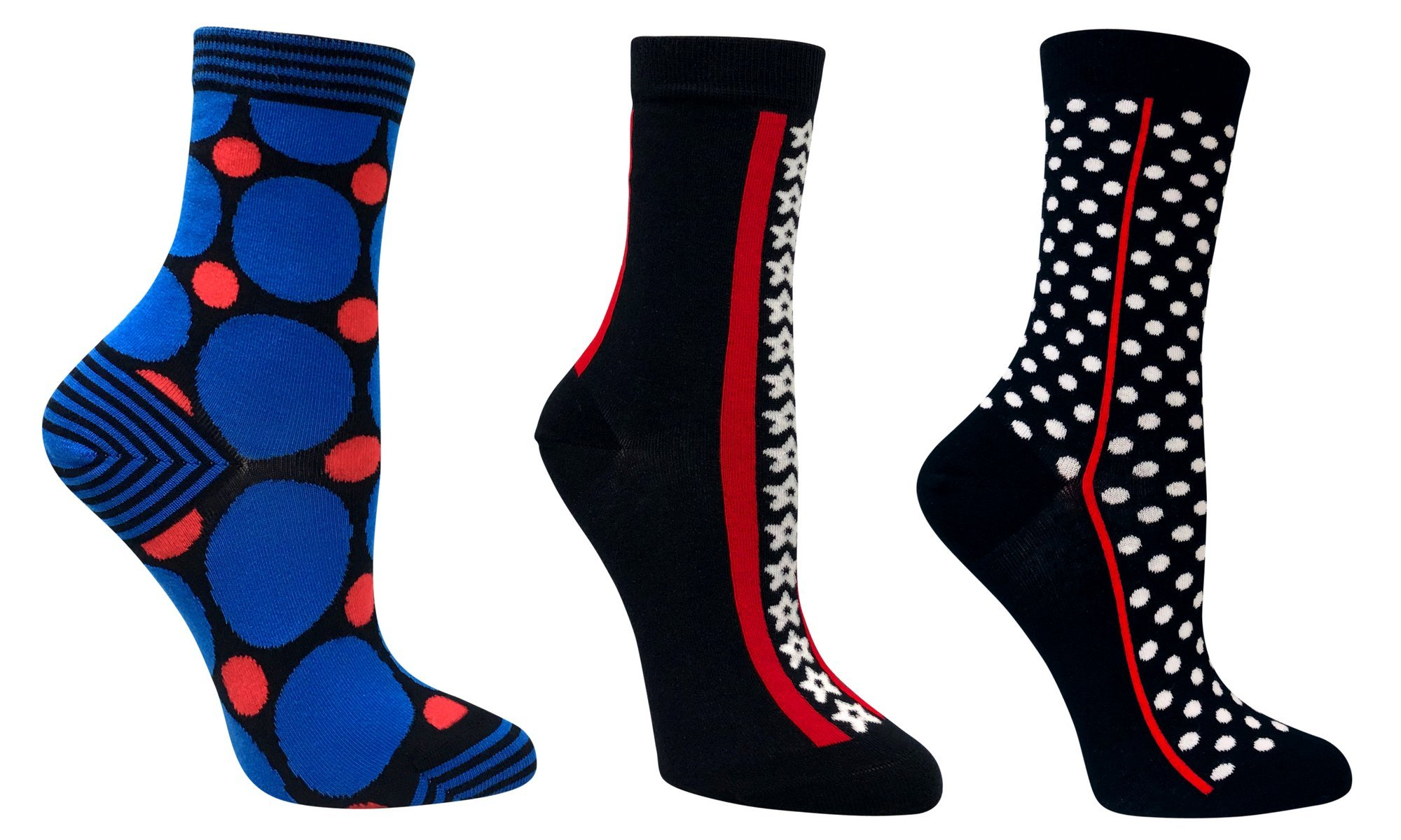 3 PACK WOMEN'S ORGANIC COTTON PATTERNED FUN CREW TROUSERS SOCKS WITH SEAMLESS TOES (NAVY)