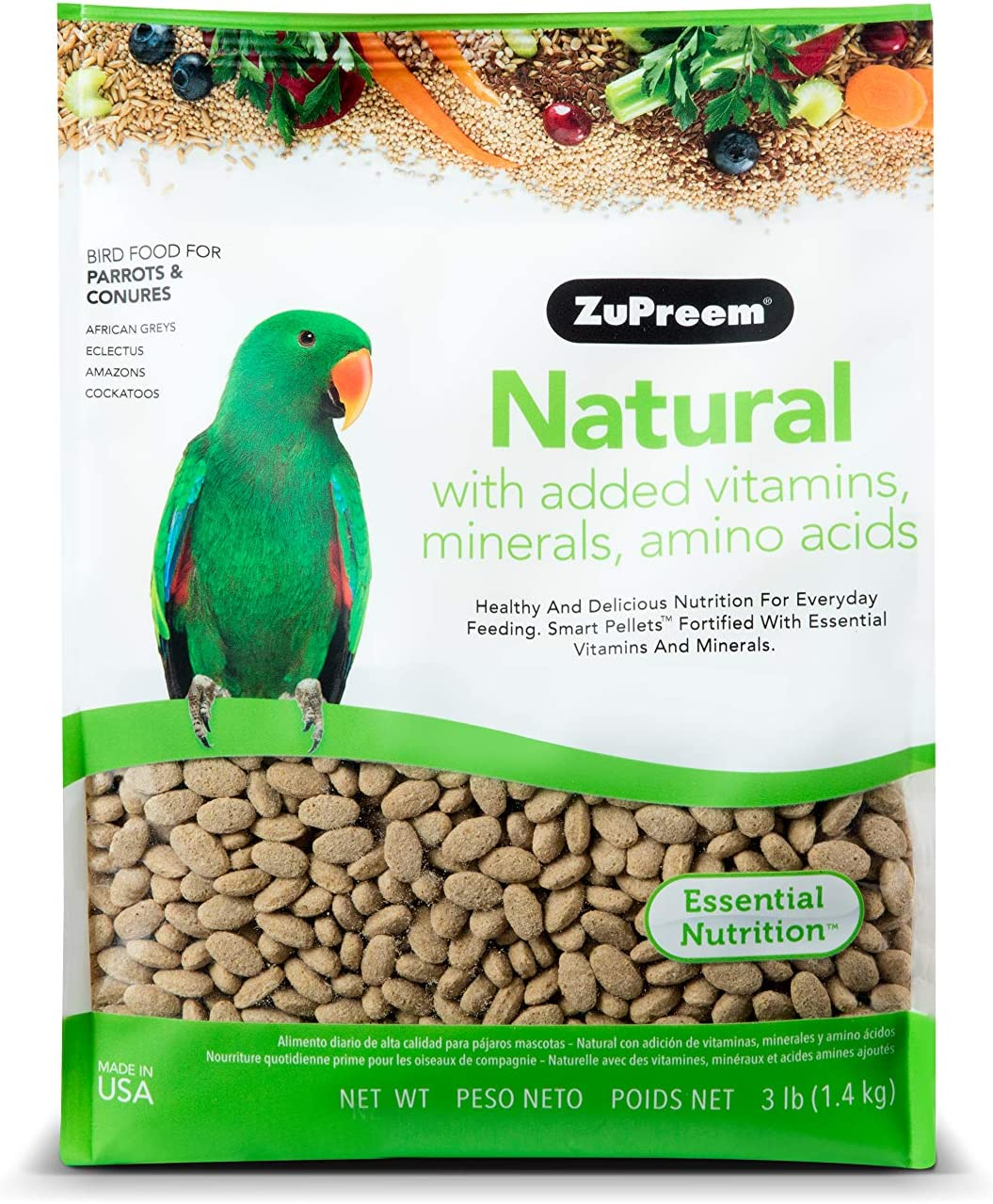 ZuPreem Natural Bird Food Smart Pellets for Parrots and Conures | Made in USA, Essential Vitamins, Minerals, Amino Acids for Caiques, African Greys, Senegals, Amazons, Eclectus