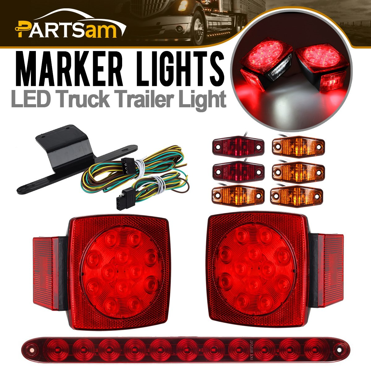 Partsam Submersible Under 80'' LED Trailer Light Kit,Square Stop Turn Tail RV Truck Lights w/Wire &Bracket,Red/Amber Side Fender Marker Lamps,3rd Brake ID Light Bar for Camper Truck RV Boat Snowmobile by Partsam