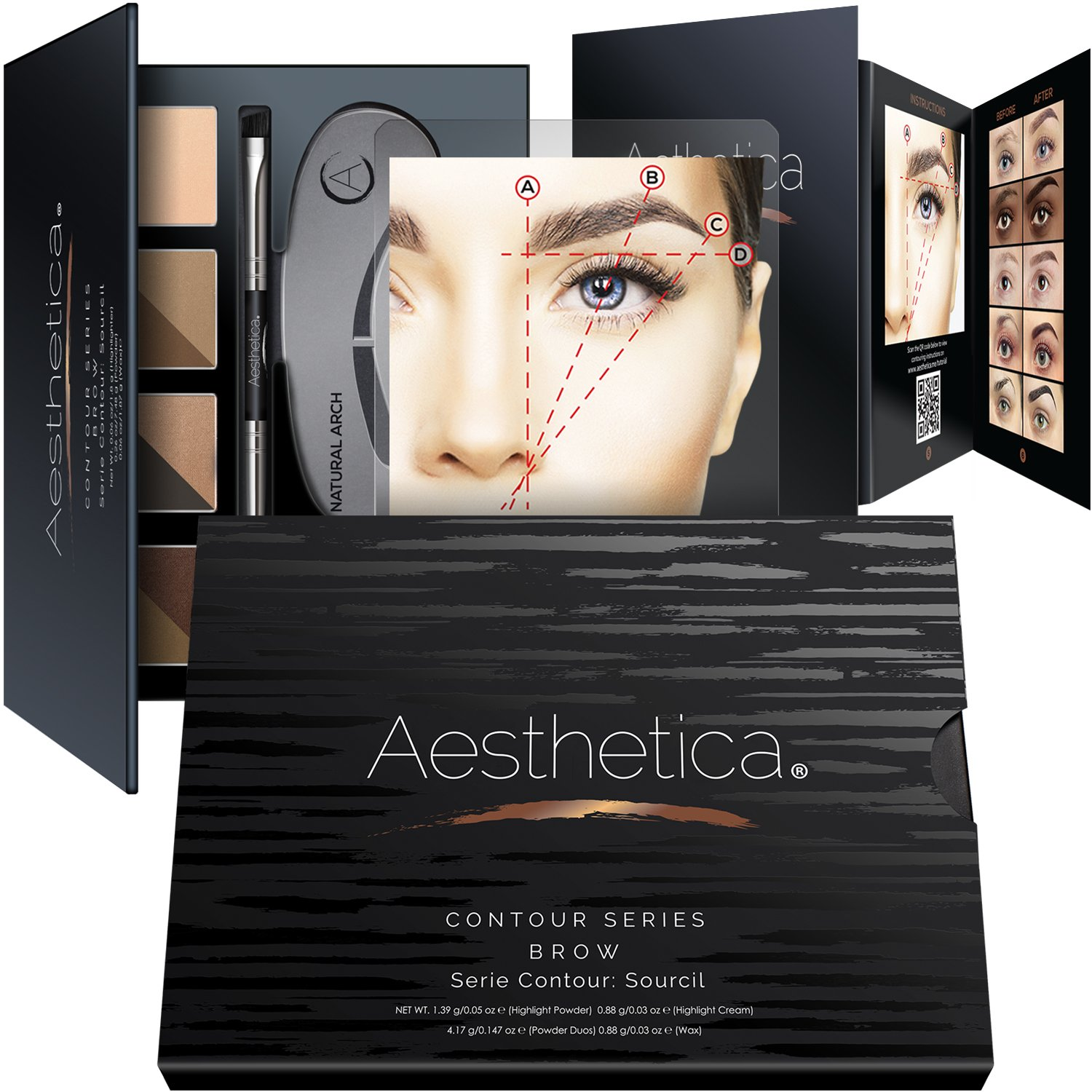 Aesthetica Cosmetics Brow Contour Kit – 16-Piece Contouring Eyebrow Makeup Palette – Includes Powders, Wax, Stencils, Spoolie/Brush Duo, Tweezers & Step-by-Step Instructions – Cruelty Free