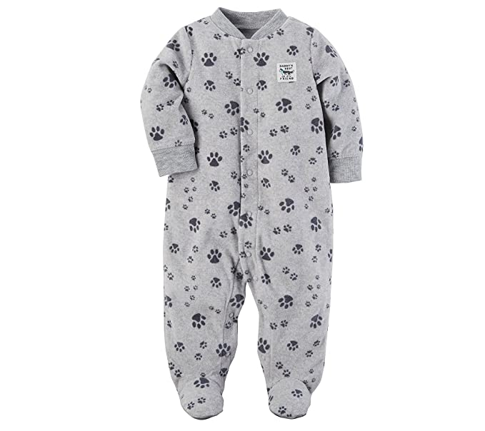 23bafcefb673 Amazon.com  Carter s Baby Boys  Fleece Zip up Paw Print Sleep   Play ...