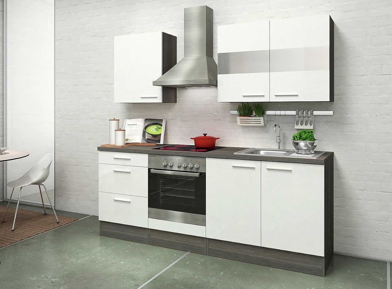respekta Premium Instalación de Cocina Cocina 210 cm Roble Blanco Brillo vitrocerámica recirculación: Amazon.es: Hogar