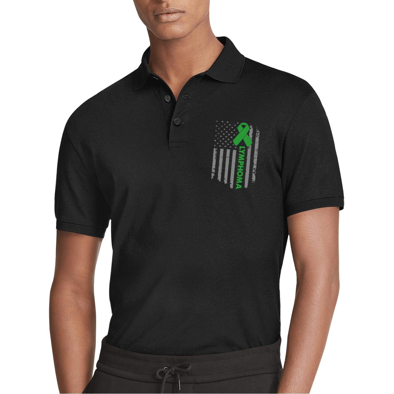 AIKYAN World Cancer Day Lymphoma American Flag Printed Mens Polo Shirt Summer Slim Fit