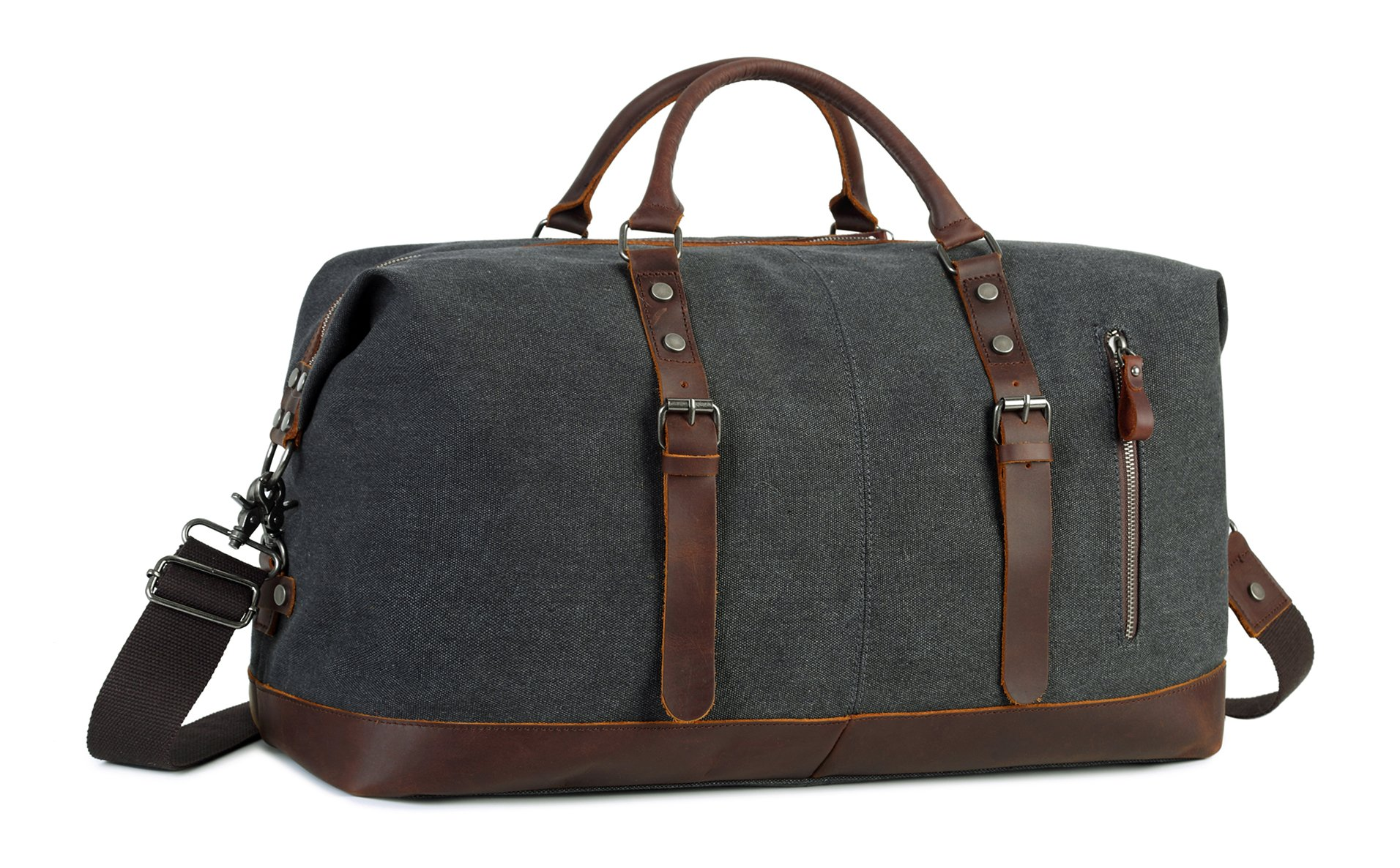 Oversized Travel Duffel Bag Canvas Leather Trim Overnight Bag Weekend Bag for Men and Women
