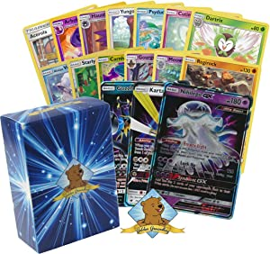 100 Assorted Pokemon Cards:1 Ultra Beast GX Rare, 5 Rares, 4 Holographics, and 90 Common/Uncommons - All Cards are Authentic - Includes Golden Groundhog Deck Storage Box!