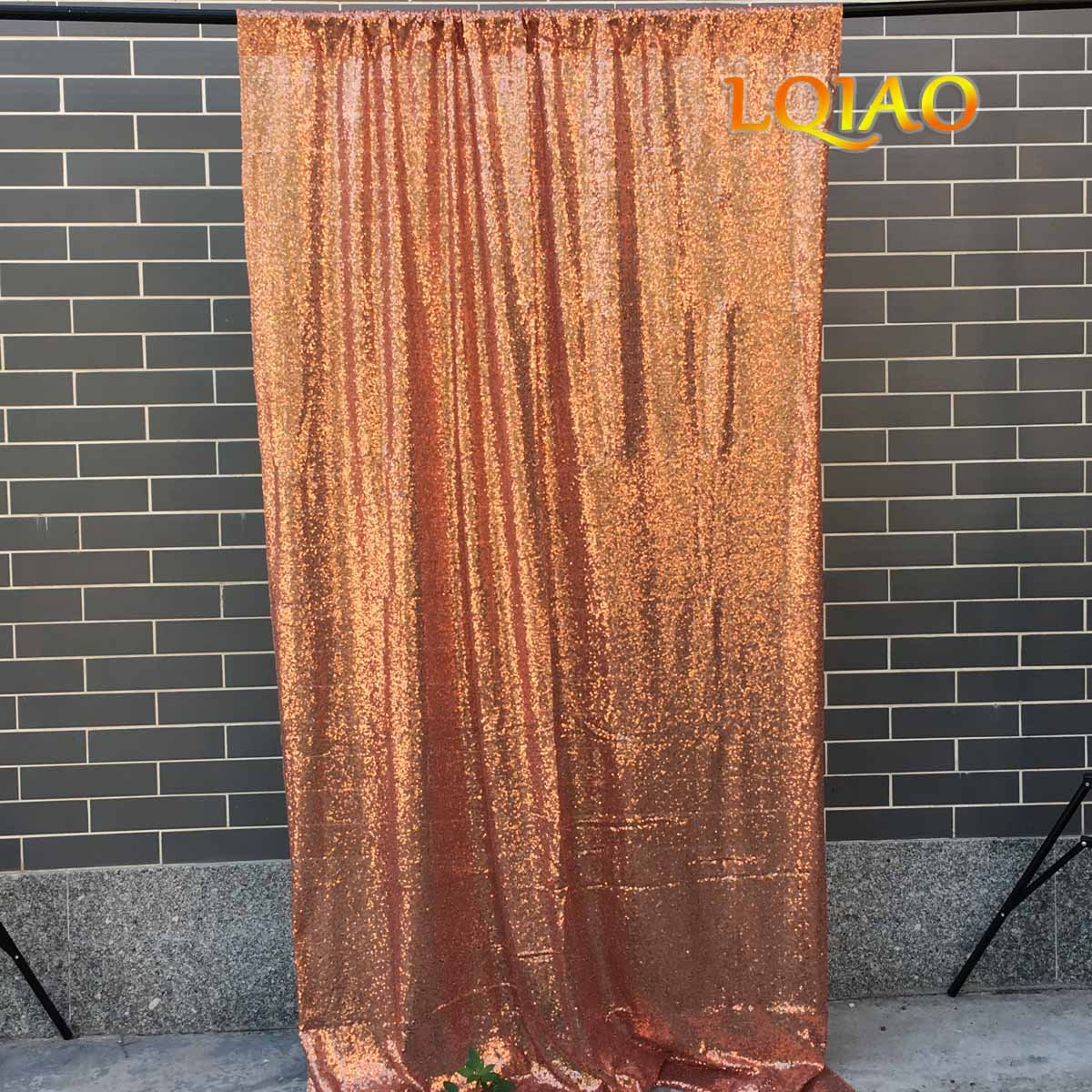 LQIAO Wedding Christmas Backdrop Glitter Rose Gold 4FTx10FT Sequin Backdrop Window Curtain Photo Booth Photography Party Decoration