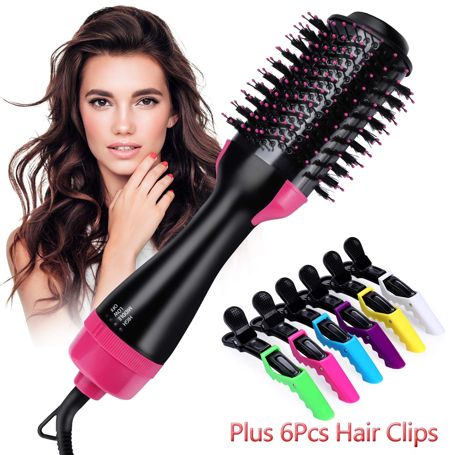 Hot Air Brush,One Step Hair Dryer & Volumizer Multi-functional 3-in-1 Salon Negative Ion Hair Straightener & Curly Hair Comb include 6pcs Plastic Alligator Hair Clips.