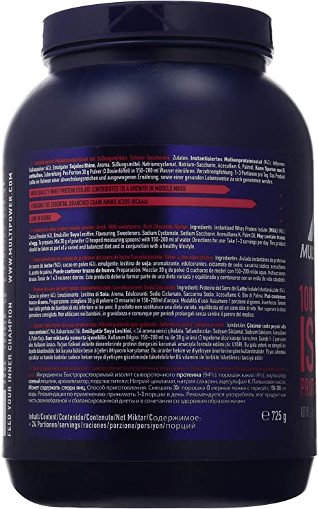 Multipower 100% Whey Isolate, Sabor Rich Chocolate - 725 gr