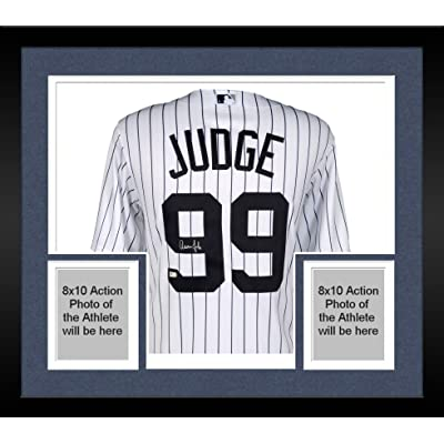2423f51d8 Framed Aaron Judge New York Yankees Autographed Majestic White Replica  Jersey - With Nameplate on Back - Fanatics Authentic Certified