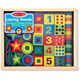 Melissa & Doug Deluxe Wooden Lacing Beads - Educational Activity With 27 Beads and 2 Laces