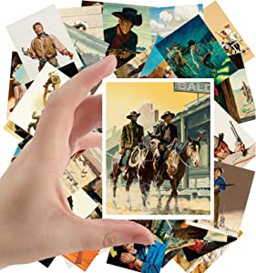 "Large Stickers (24 pcs 2.5""x3.5"") Vintage Western Cowboys Indians Wild West by Stanley Borack and George Gross"