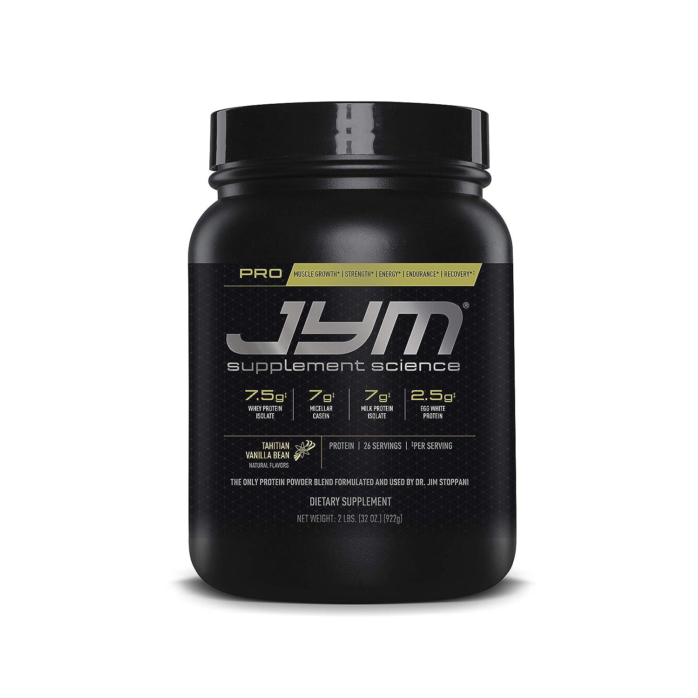 Pro Jym Protein Powder – Egg White, Milk, Whey protein isolates Micellar Casein JYM Supplement Science Tahitian Vanilla Bean Flavor, 2 Lb