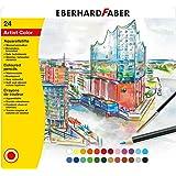 Eberhard Faber 516025 - Aquarellbuntstifte (24 Stück mit Pinsel, im Metalletui)