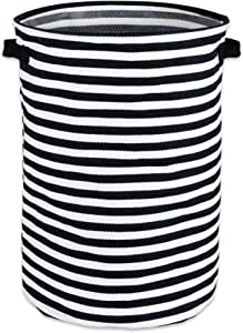 """DII Cabana Stripe Collapsible Waterproof Coated Anti-mold Cotton Round Hamper, Perfect For Laundry Room, Bedroom, Nursery, Dorm, Closet, and Home Organization, 14 x 14 x 20"""" - Black"""