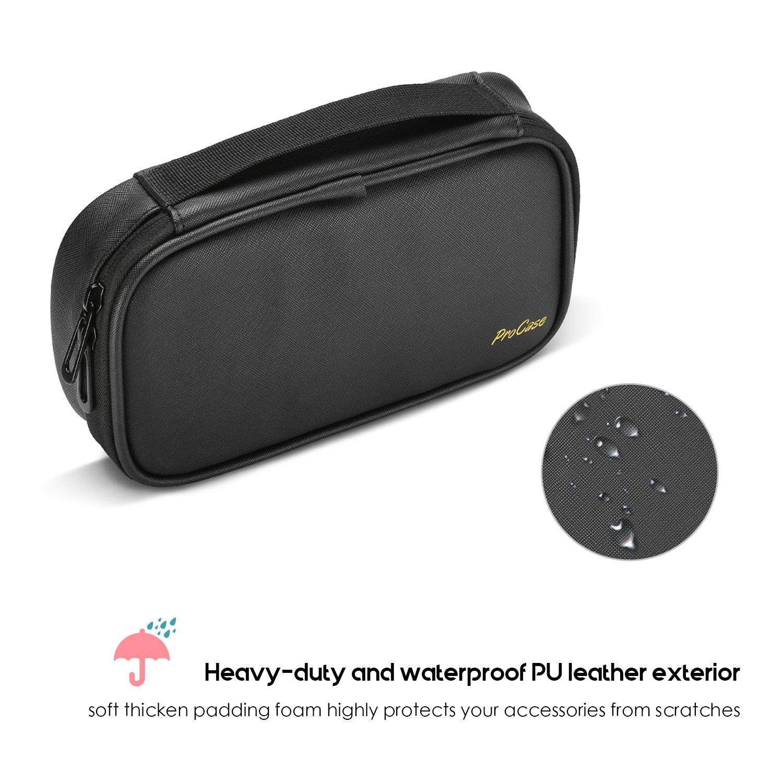 ProCase Travel Electronics Organisateur de C/âble Sac Noir Double Couche Epaississement Gadget Portable Accessoires de Stockage pour Les Cordons USB Carte M/émoire SD /Écouteurs Power Bank Hard Drive