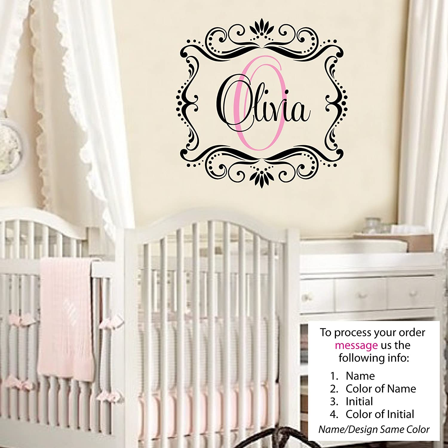 Olivia wall decal childrens personalized name childrens wall art olivia wall decal childrens personalized name childrens wall art name wall decal monogram nursery decor amazon amipublicfo Choice Image