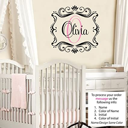 Olivia Wall Decal Childrens Personalized Name   Childrens Wall Art   Name  Wall Decal   Monogram