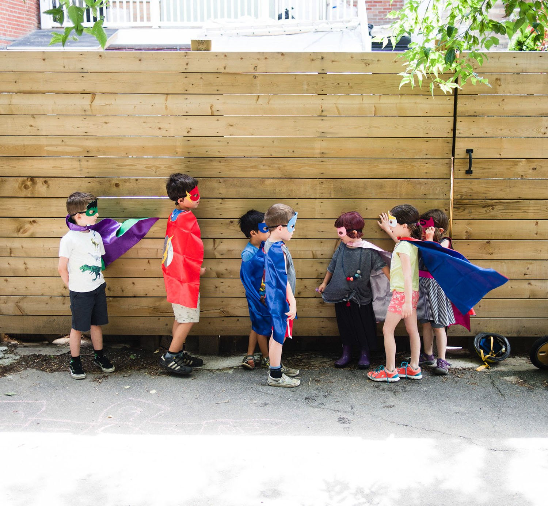 Kids Costumes 5PCS Superhero Capes with Masks and Slap Bracelets for Boys Dress Up Party Favors