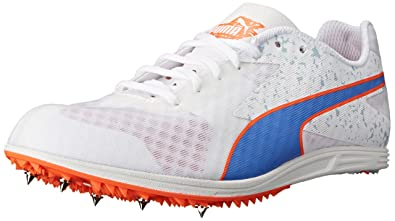 PUMA Women's TFX Distance V5 Track and Field Shoe, White/Ultramarine/Fluorescent  Peach