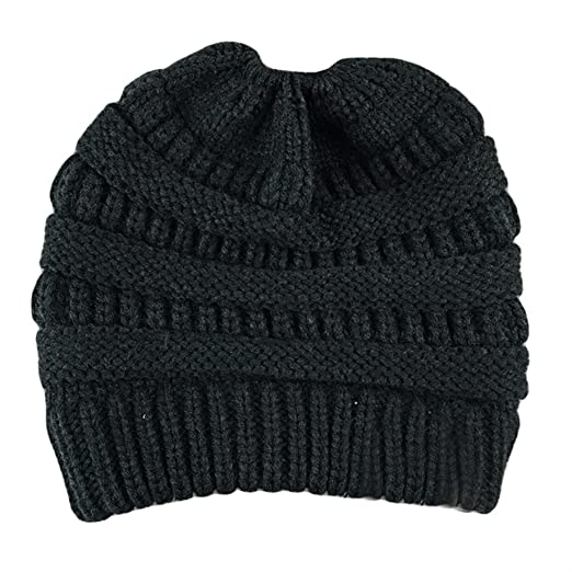 27e3a446b7e Bernie Gresham Autumn and Winter Ebay LABELING Knit Pony Hat Lady Wool Hat  Black 90 Grams For Adults at Amazon Men s Clothing store
