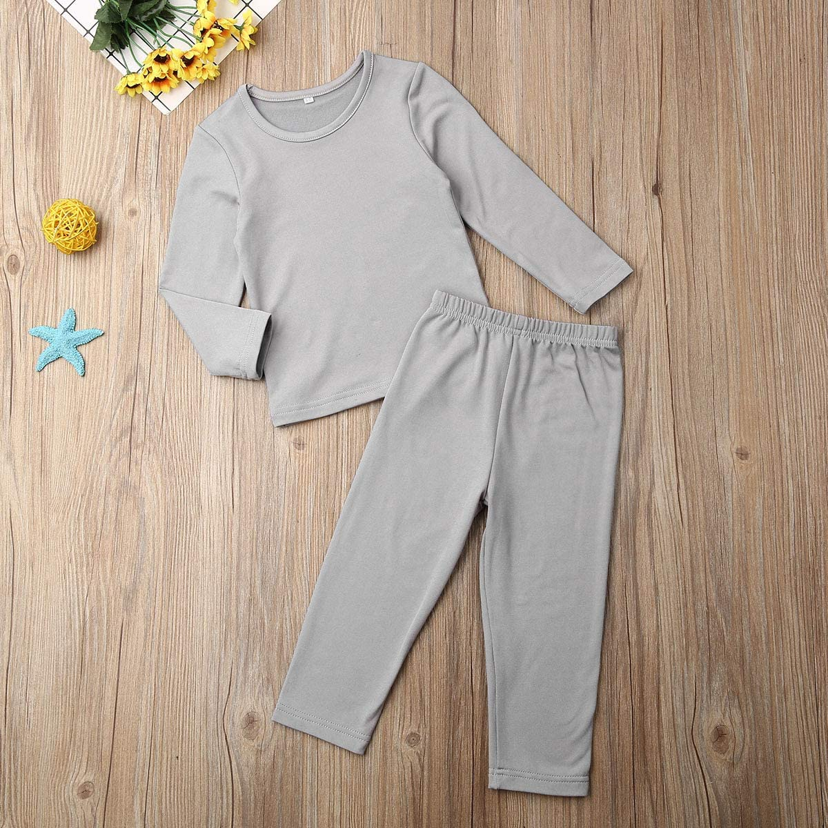 Toddler Baby Boy Girl Sleepwear Solid Color Organic Cotton Pajamas Long Sleeve Homewear Nightwear Outfits