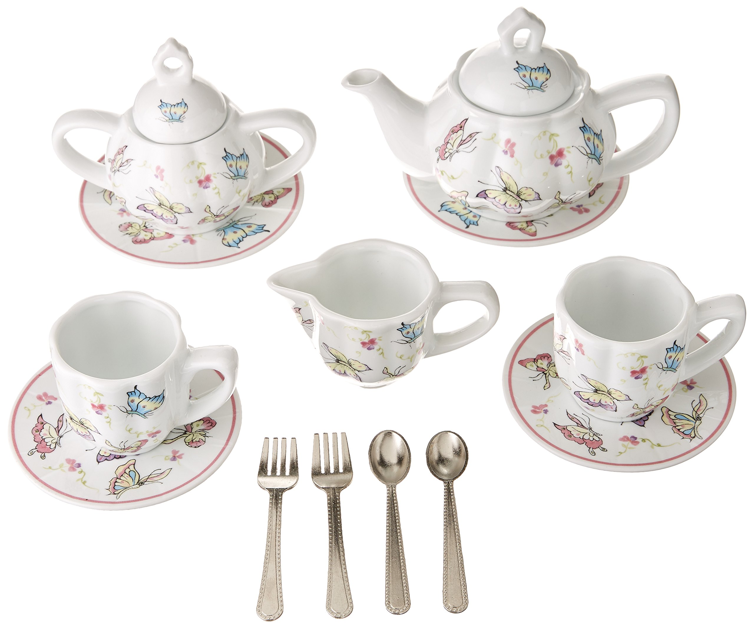 Delton Products Pink Butterfly Children's Tea Set with Basket by Delton Products (Image #2)