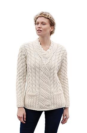74c2d4747d75 Aran Woollen Mills Ladies Irish Crossover V-Neck Merino Wool Sweater  (X-Small
