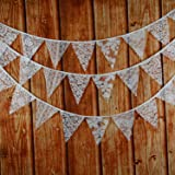 INFEI Mixed White Lace Fabric Flags Bunting Banner Garlands for Wedding, Birthday Party, Outdoor & Home Decoration