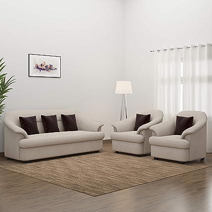 Fantastic Bharat Lifestyle Sagittarius Fabric 3 1 1 Seater Sofa Set Cream Creativecarmelina Interior Chair Design Creativecarmelinacom
