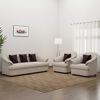 Swell Bharat Lifestyle Sagittarius Fabric 3 1 1 Seater Sofa Set Cream Machost Co Dining Chair Design Ideas Machostcouk