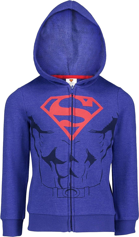 DC Comics Batman Superman Boys Fleece Hoodie with 3D Muscles and Cape