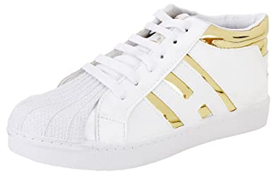 e72d607c98fc77 Ethics Perfect White Stylish Gold Sneaker Shoes for Men: Buy Online at Low  Prices in India - Amazon.in