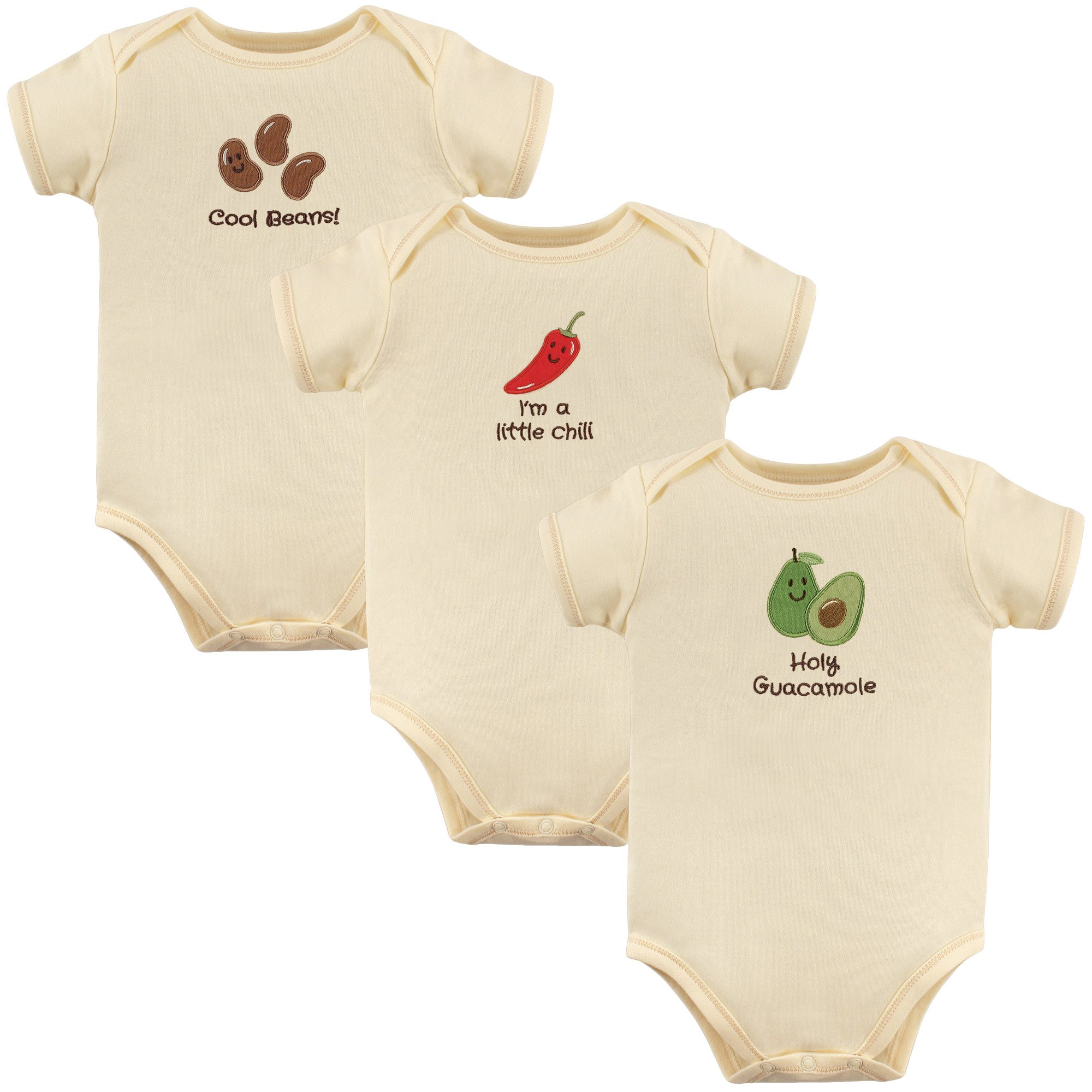 Touched by Nature Unisex Baby Organic Cotton Bodysuits, Holy Guacamole 3-Pack, 0-3 Months (3M)