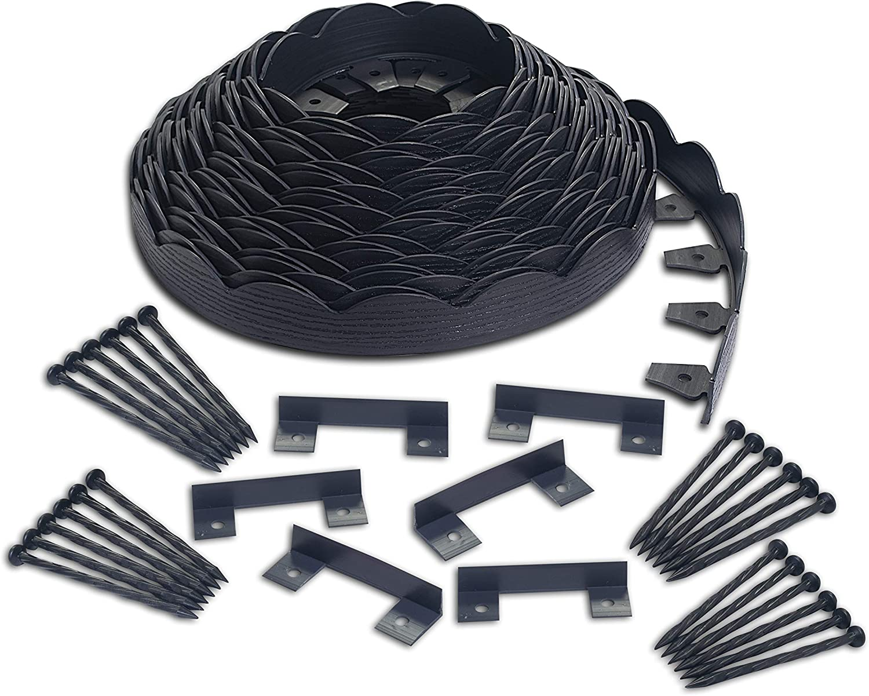 EasyFlex 3210E-100C Scallop No-Dig Landscape Edging, 100', Black