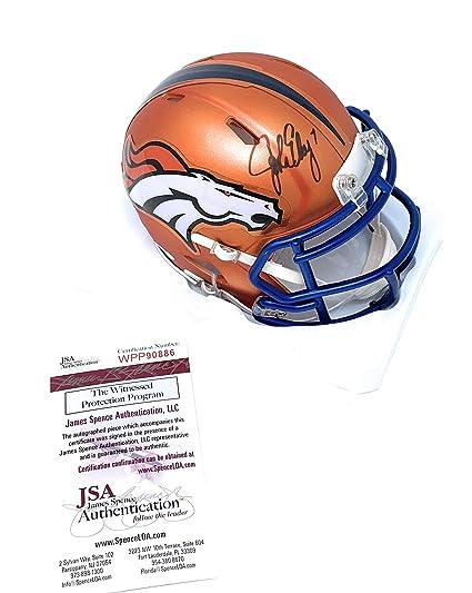 f8157ab81d7 John Elway Denver Broncos Signed Autograph BLAZE Speed Mini Helmet Black  Ink Elway Player Hologram JSA