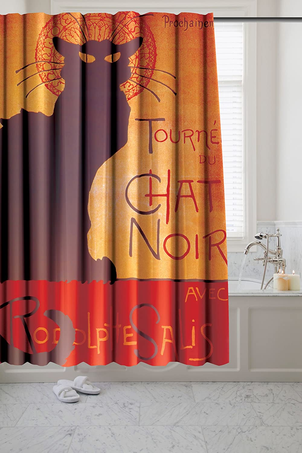 Chat Noir – Black Cat Fabric Novelty Shower Curtain – Museum Collection by artist Theophile Steinlen