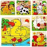 Lalang Puzzle En Bois Cubes Jeux D'animaux Bébé Jouets Educatifs