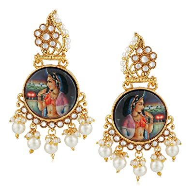 4be6db085 Buy MEENAZ Temple Jewellery Sets Traditional Gold Pearl Jhumka/Jhumki  Earrings for Women/Girls-Jhumki earrings-234 Online at Low Prices in India  | Amazon ...